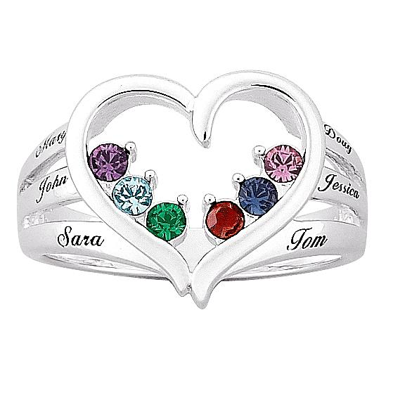 MBM COMPANY Mother's Birthstone Silvertone Heart Name Ring