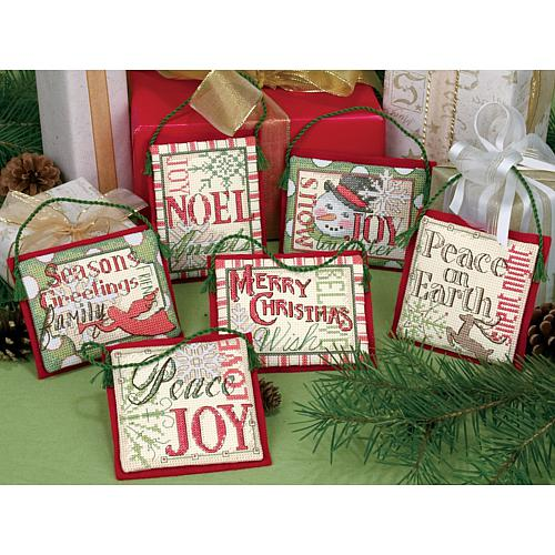 Dimensions Holiday Collection Counted Cross Stitch Ornaments - Christmas Sayings