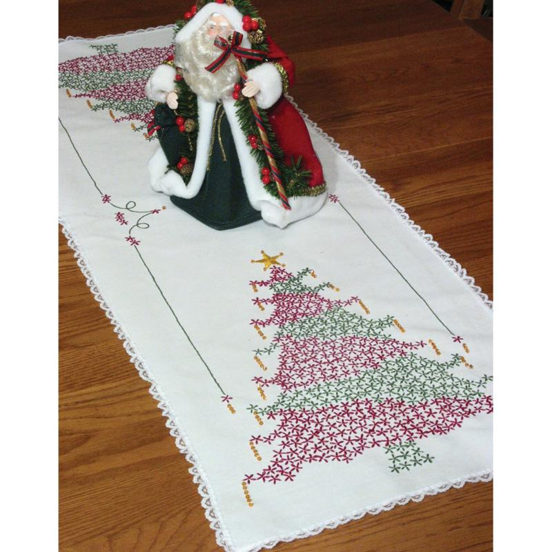 FAIRWAY Fairway Needlecraft Stamped Lace Edge Table Runner Kit - Christmas Tree