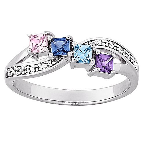 Sterling Silver Mother's Square Family Birthstone and Diamond-Accented Ring