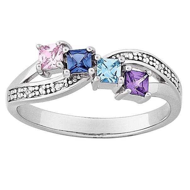 MBM COMPANY Sterling Silver Mother's Square Family Birthstone and Diamond-Accented Ring