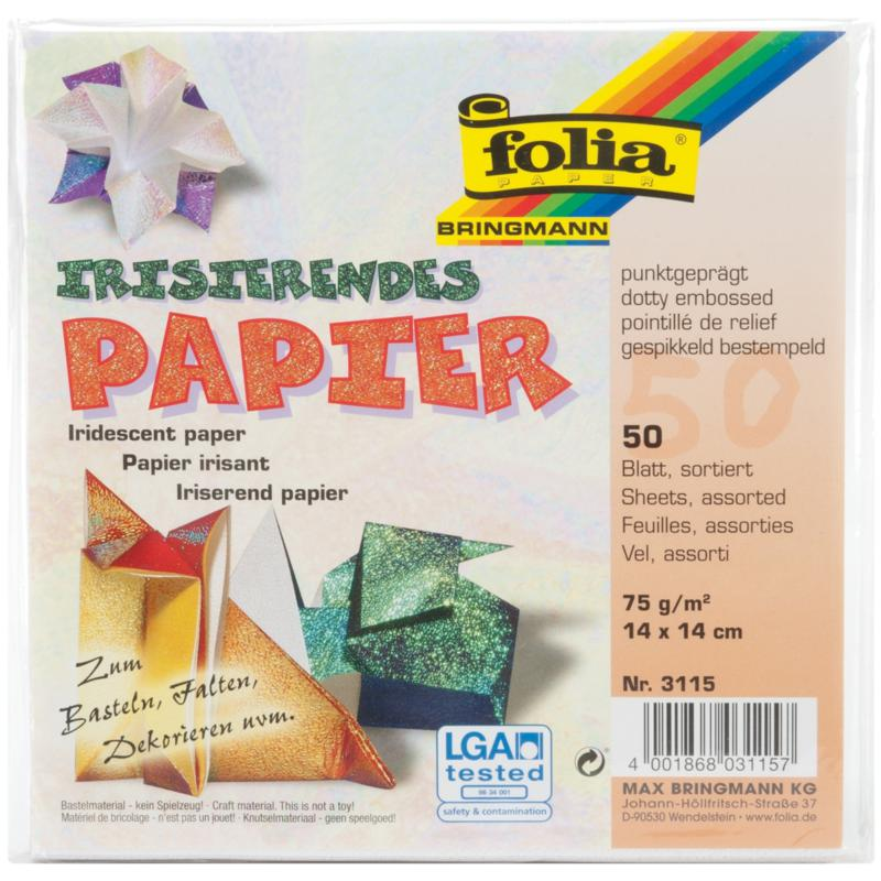 Global Art Folia Origami Paper 6x6-inch Textured Iridescent 50-pack - Dot Embossing