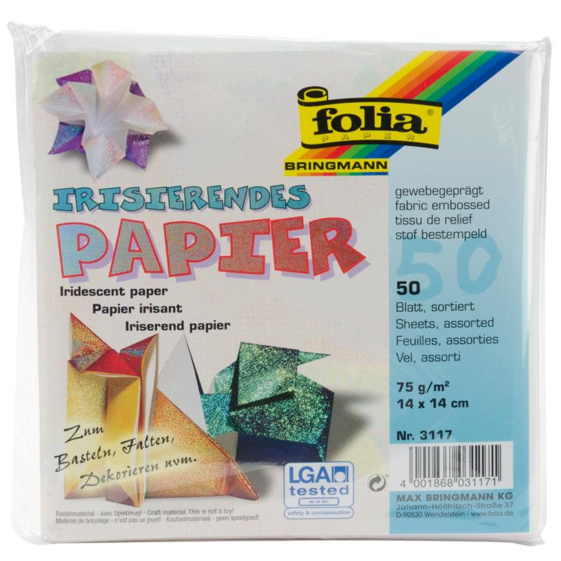 Global Art Folia Origami Paper 6x6-inch Textured Iridescent 50-pack - Fabric Embossing