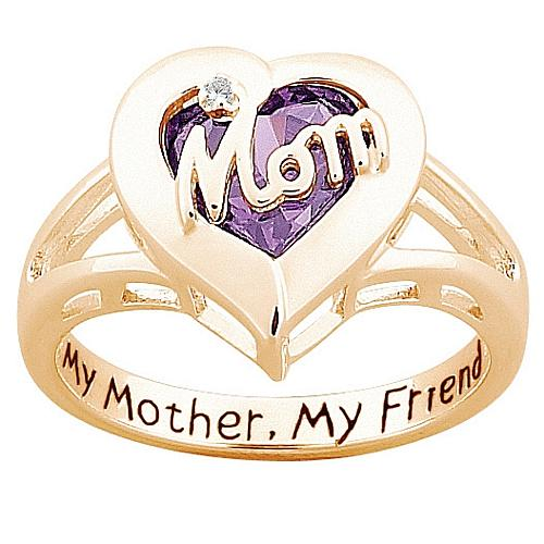 "MOM"" Simulated Birthstone ""Heart"" Ring with Diamond Accent"