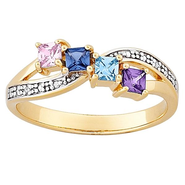 MBM COMPANY 18K Gold-Plated Sterling Silver Mother's Square Family Birthstone and Diamond-Accented Ring