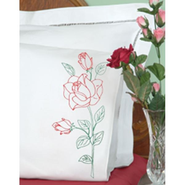 JACK DEMPSEY Stamped Pillowcases With White Perle Edge 2-pack - Long Stem Rose