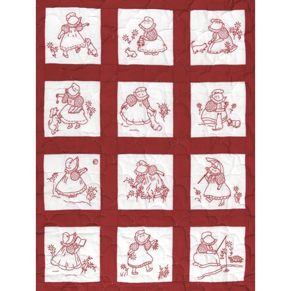 JACK DEMPSEY Stamped White Nursery Quilt Blocks 9-inch x 9-inch 12-pack - Sunbonnet Girls