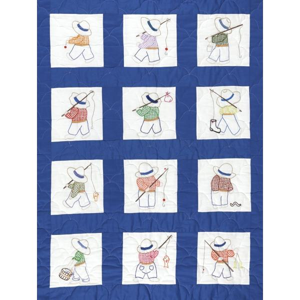 JACK DEMPSEY Stamped White Nursery Quilt Blocks 9-inch x 9-inch 12-pack - Little Boys