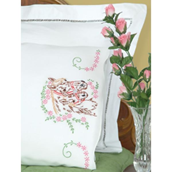 JACK DEMPSEY Stamped Pillowcases With White Perle Edge 2-pack - Mare and Colt