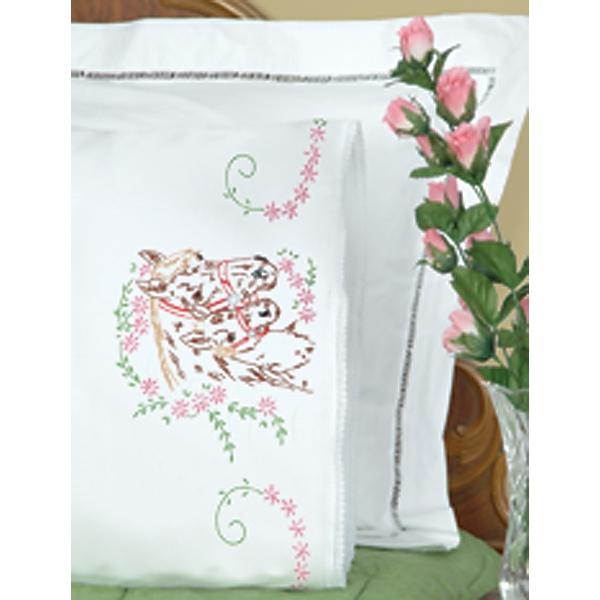 JACK DEMPSEY Stamped Pillowcases With White Lace Edge 2-pack - Mare and Colt