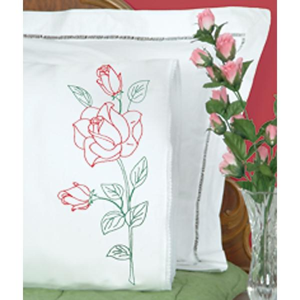 JACK DEMPSEY Stamped Pillowcases With White Lace Edge 2-pack - Long Stem Rose