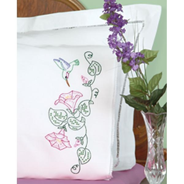 JACK DEMPSEY Stamped Pillowcases With White Lace Edge 2-pack - Hummingbird and Morning Glories
