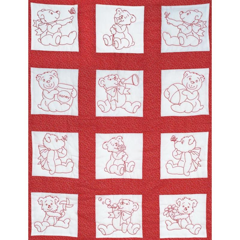 JACK DEMPSEY Stamped White Nursery Quilt Blocks 9-inch x 9-inch 12-pack - Baby Bears