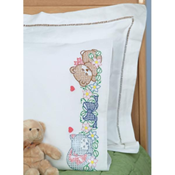 JACK DEMPSEY Children's Stamped Pillowcase With White Perle Edge 1-pack - Now I Lay Me Down To Sleep