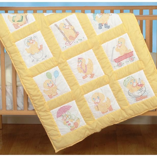 JACK DEMPSEY Stamped White Nursery Quilt Blocks 9-inch x 9-inch 12-pack - Baby Ducks
