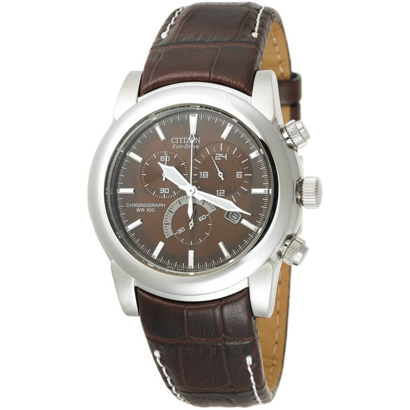 Citizen Men's Stainless Steel Case Brown Leather Strap Chronograph Watch