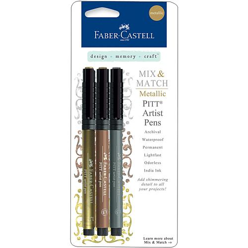Mix and Match Metallic Pitt Artist Pens - Gold, Copper and Silver