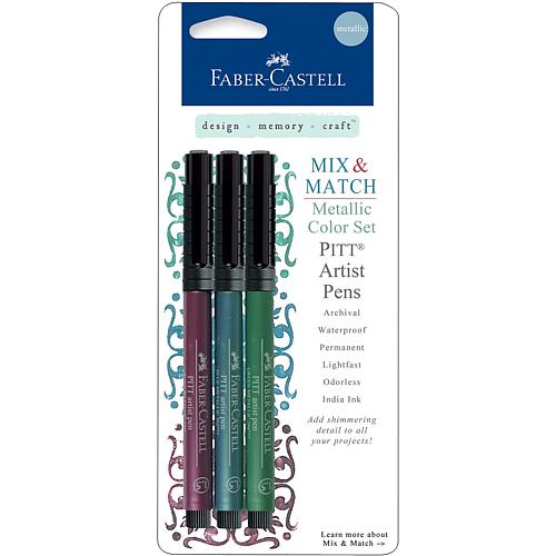 Mix and Match Metallic Pitt Artist Pens - Ruby, Blue and Green