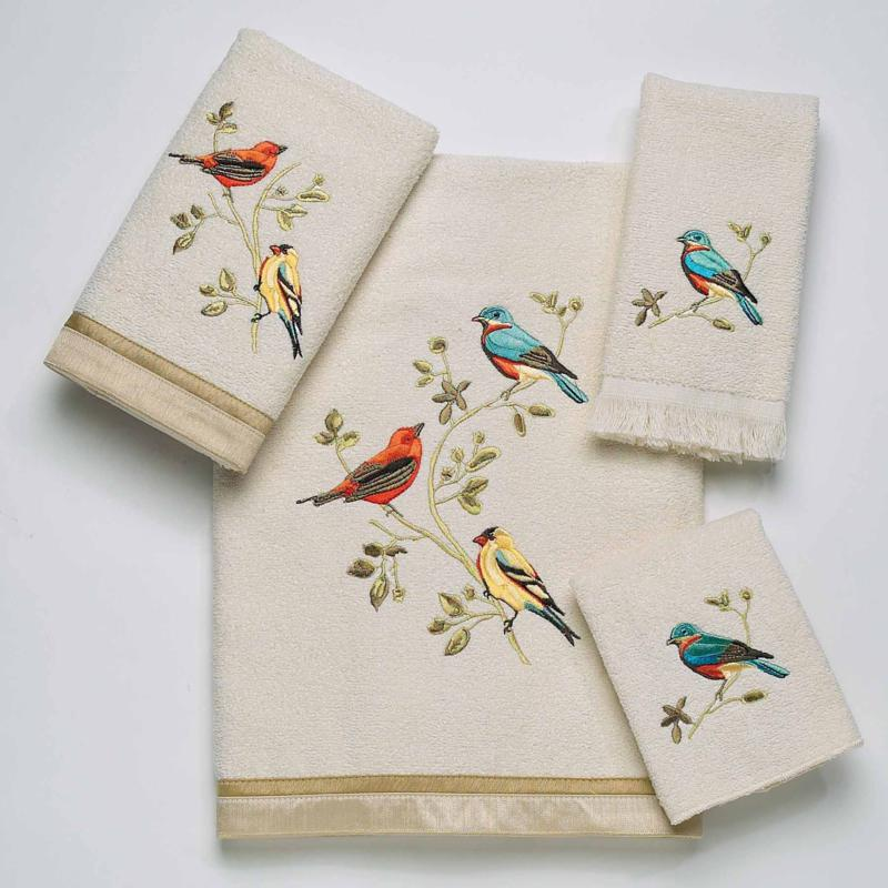 Avanti Gilded Birds 4 Piece Towel Set in Ivory