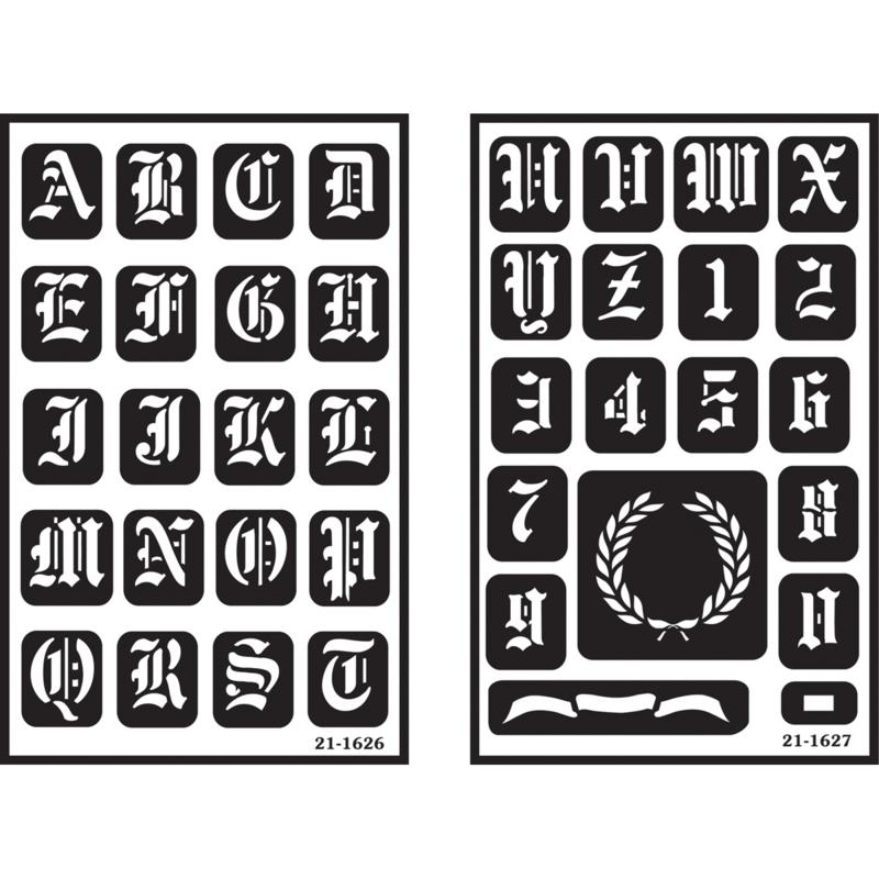 ARMOUR PRODUCTS Armour 2-pack Over 'n' Over Reusable Glass Etching Stencils - Old English Alphabet