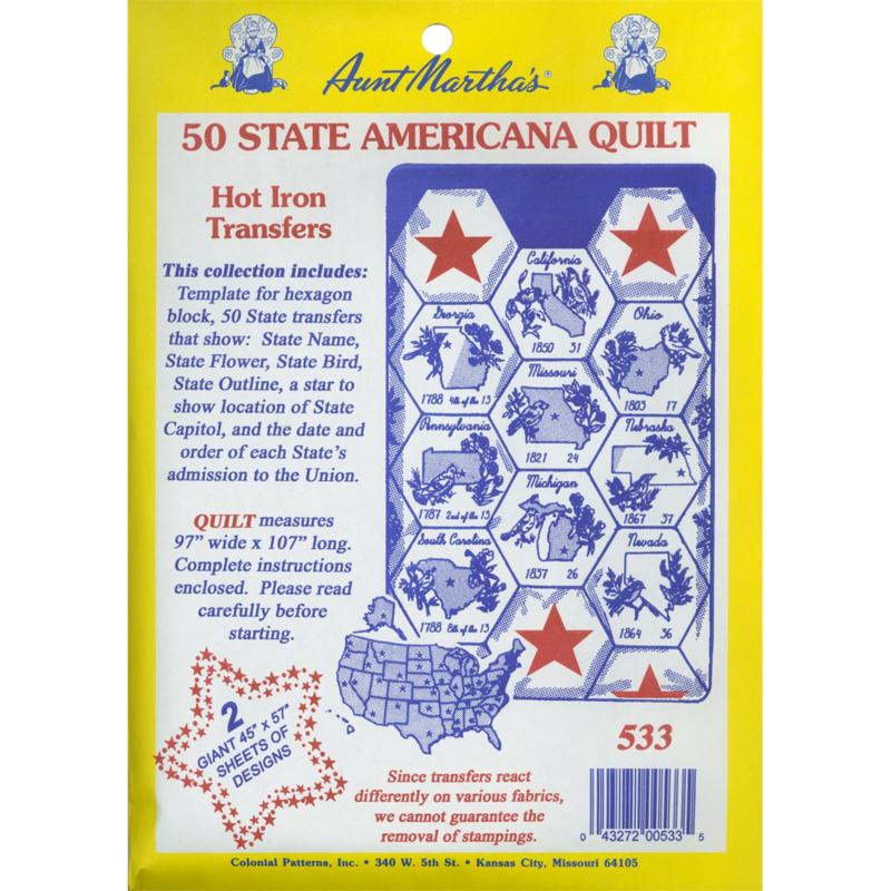 Aunt Martha's Iron-On Transfer Collections - 50 State Americana Quilt