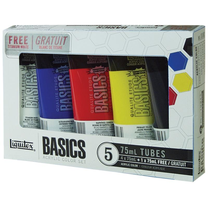 REEVES Liquitex 5-pack Basics Acrylic Paint - Assorted Colors