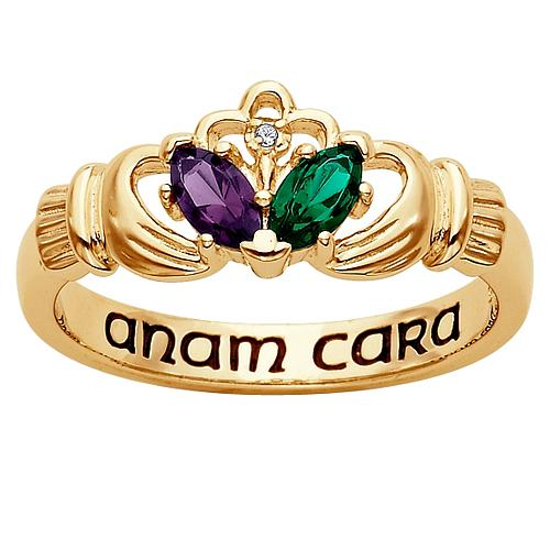 18K Gold-Plated Couple's Marquise Birthstone & Diamond Accent Claddagh Ring