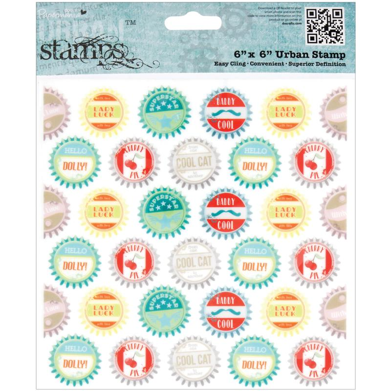 docrafts Docrafts Papermania Happy Days Urban Stamps - Bottle Caps