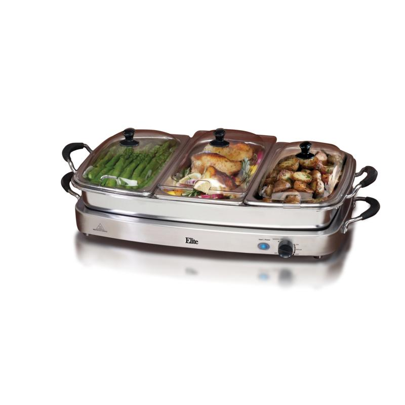 Elite Elite Platinum Set of 3 Deluxe 2.5qt. Stainless Steel Electric Buffet Servers