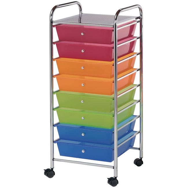 Blue Hills Studio Storage Cart W/8 Drawers - 16.5X39.5X14.5 Multicolor