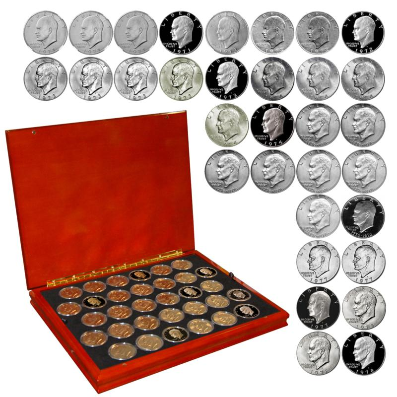 Coin Collector 1971 – 1978 Complete BU Eisenhower Silver Dollars 32-Coin Set