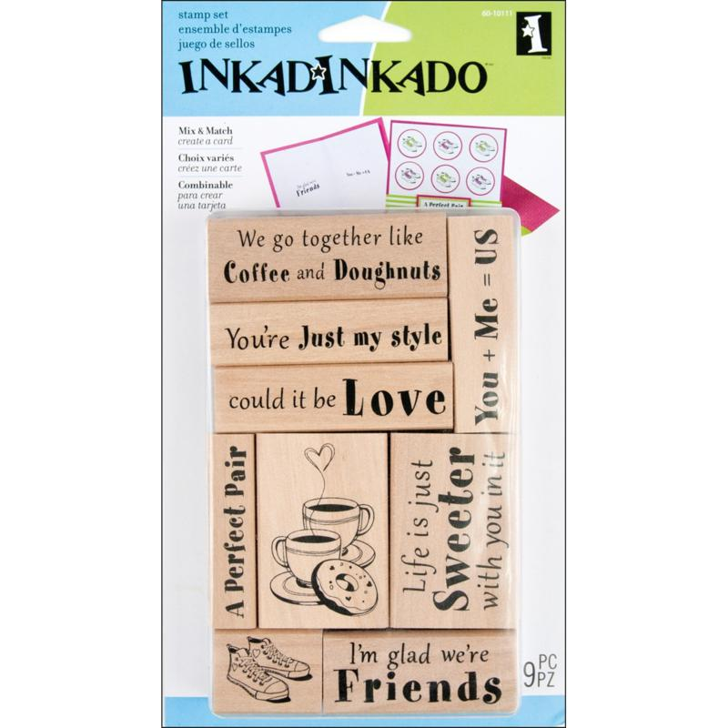 INKADINKADO Inkadinkado 9-pc Card Making Mounted Stamp Set - Love and Friendship