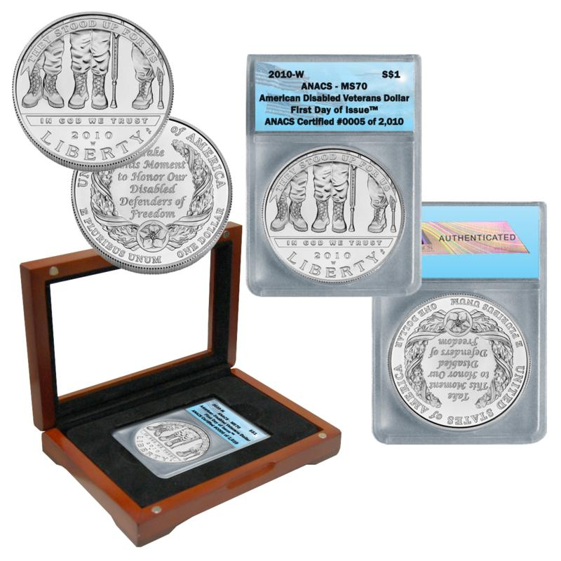 Coin Collector 2010 MS70 ANACS FDOI American Veterans Disabled for Life Silver Dollar