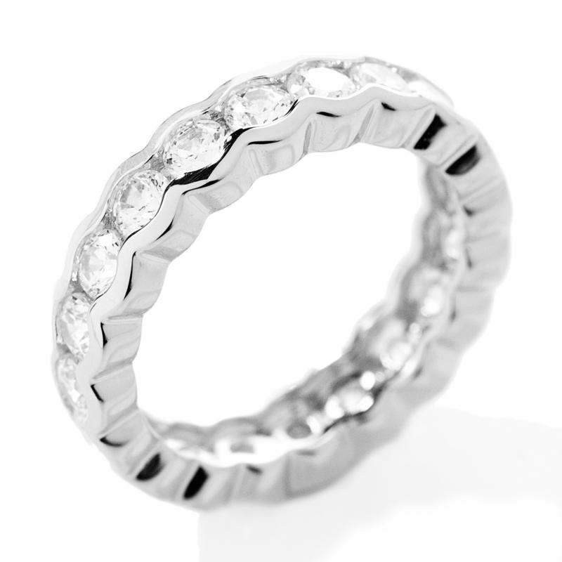 Absolute Absolute Round Semi-Bezel Eternity Band Ring
