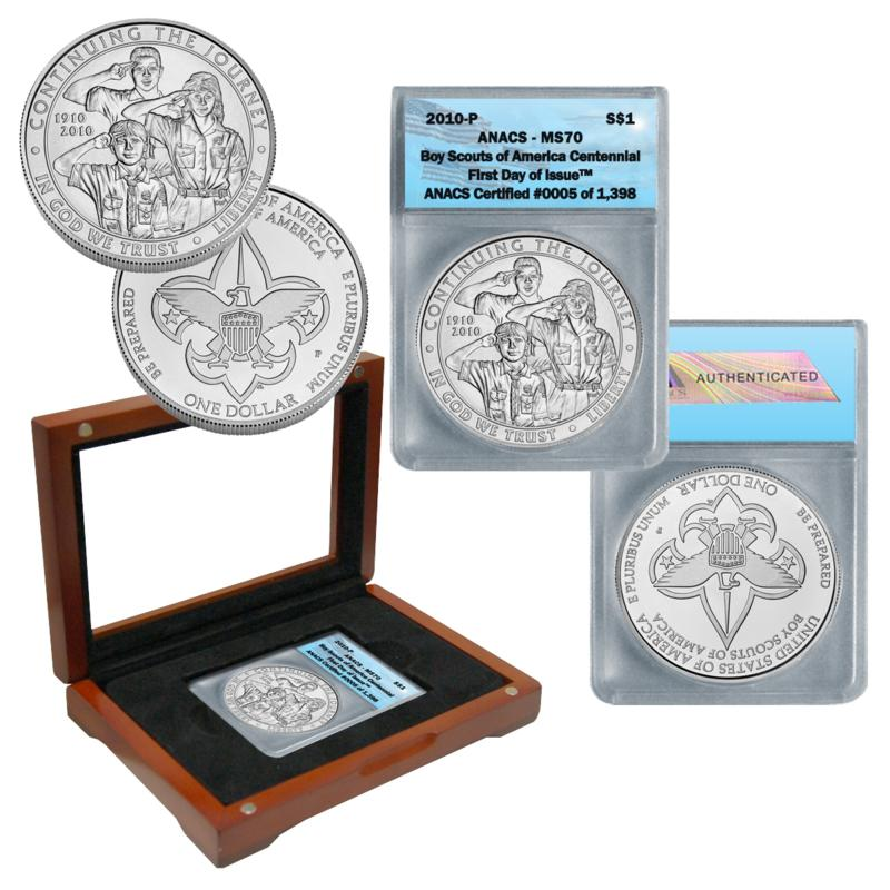 Coin Collector 2010 Boy Scouts of America ANACS MS70 FDOI Silver Dollar