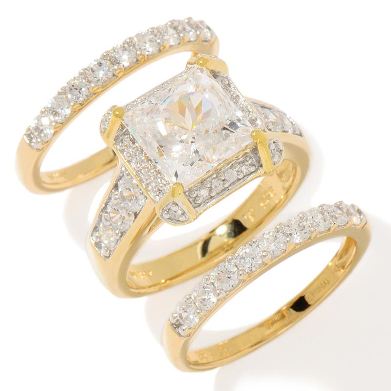 Victoria Wieck Victoria Wieck 4.88ct Absolute Mirabella-Cut Square and Pavé 3-piece Ring Set