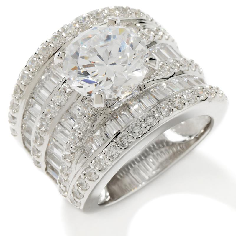 Victoria Wieck Victoria Wieck 7.018ct Absolute Round Solitaire and Baguette 7-Row Band Ring