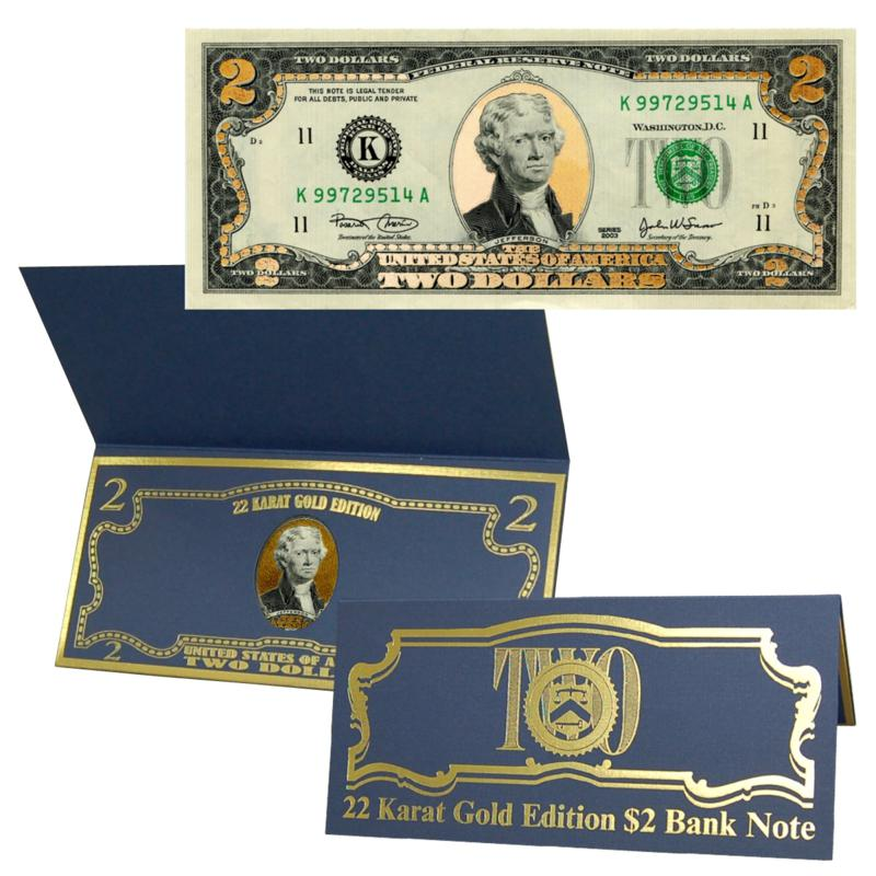 Coin Collector $2 Bill with 22K Gold Foil Highlights