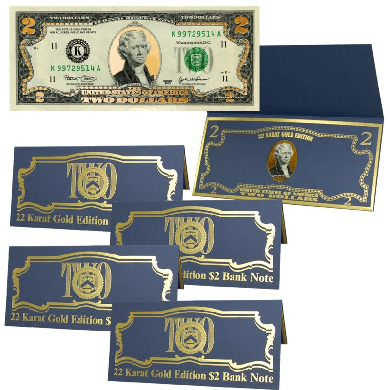 Coin Collector $2 Bill with 22K Gold Foil Highlights - Set of 5