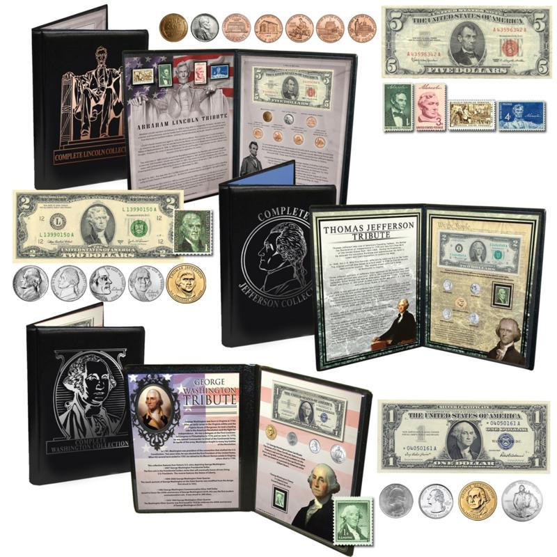 Coin Collector Presidential Coin, Stamp and Currency Collections - Washington, Jefferson and Lincoln