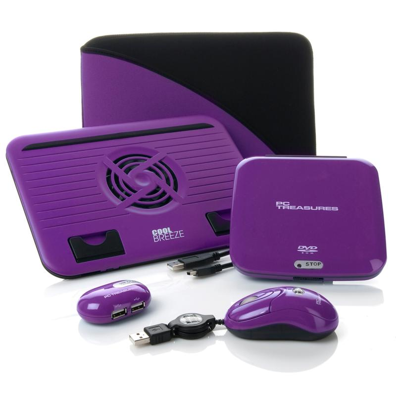 HSN Accessory Kit with DVD-ROM Drive, Mouse, USB Hub and Cooling Stand - Purple