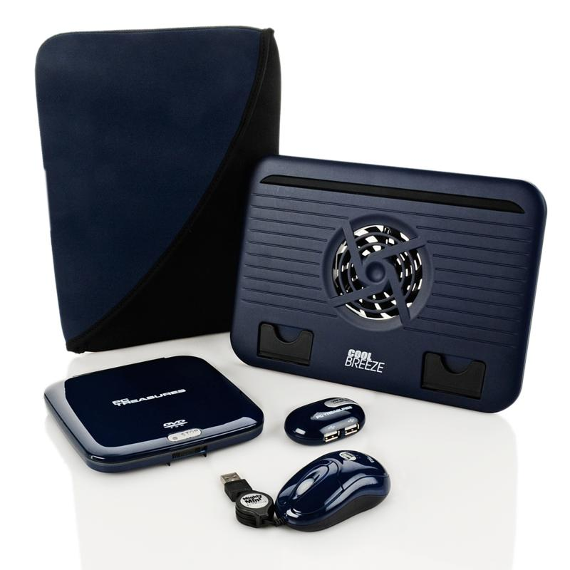 HSN Accessory Kit with DVD-ROM Drive, Mouse, USB Hub and Cooling Stand - Navy Blue