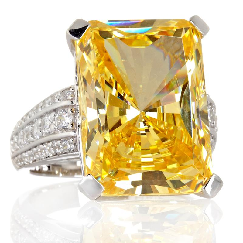 Absolute 27.17ct Absolute Canary-Color Octagon-Cut Cocktail Ring