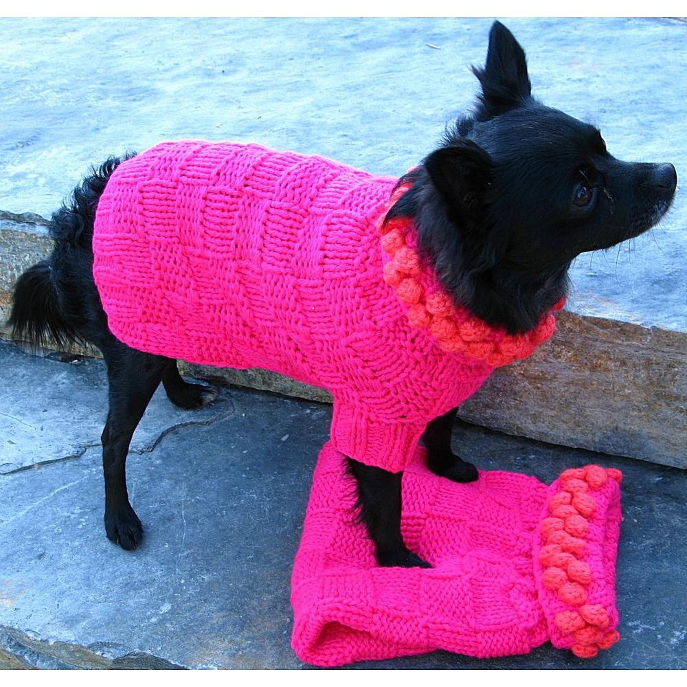 Knit Dog Sweater - Fuscia with Pink Poms Small