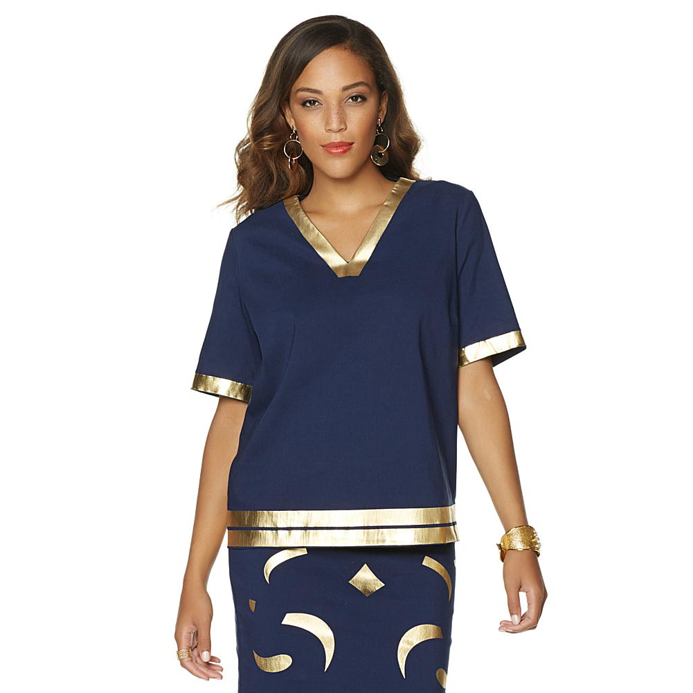 Wendy Williams Gold Foil V-Neck Top