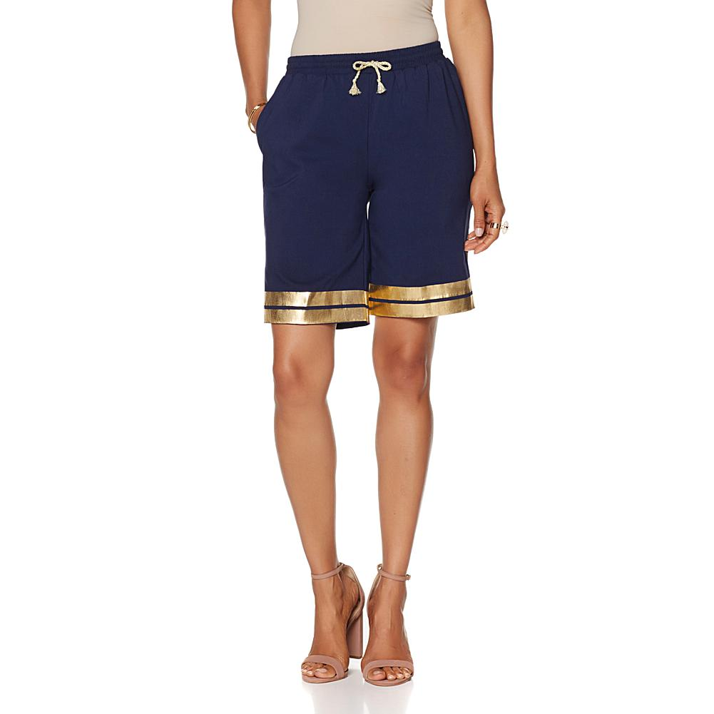 Wendy Williams Gold Foil Bermuda Shorts
