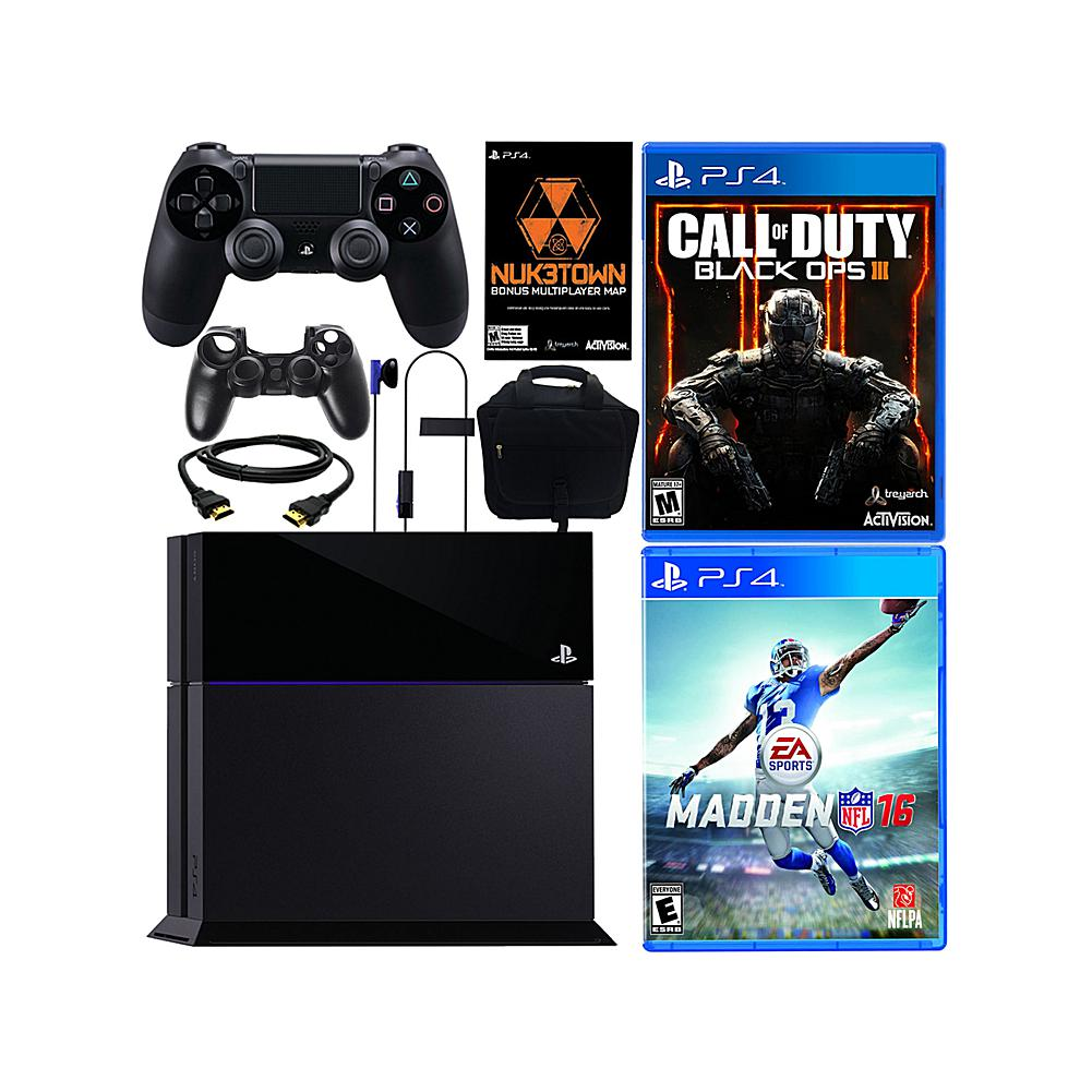 """Sony PlayStation 4 PS4 500GB Console with """"Call of Duty: Black Ops III"""" with Bonus Map,  """"Madden NFL 16, """" Console Bag and Controller Sleeve"""