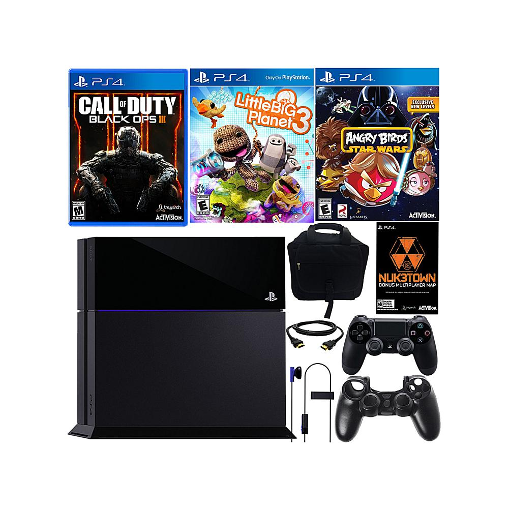 """Sony PlayStation 4 PS4 500GB Console with """"Call of Duty: Black Ops III"""" with Bonus Map,  """"LittleBigPlanet 3"""",  """"Angry Birds Star Wars, """" Console Bag and Controller"""