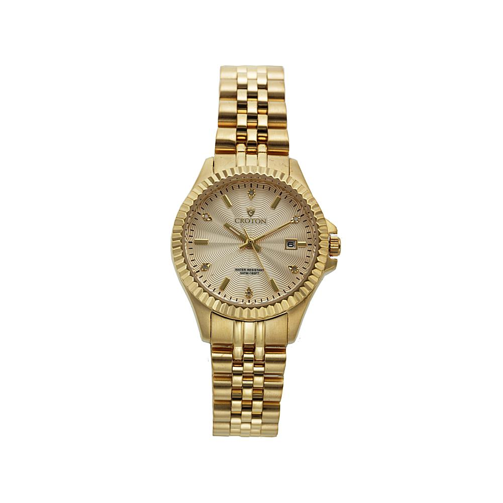 Croton Women's 6-Diamond Marker Patterned Dial Goldtone Stainless Steel Bracelet Watch