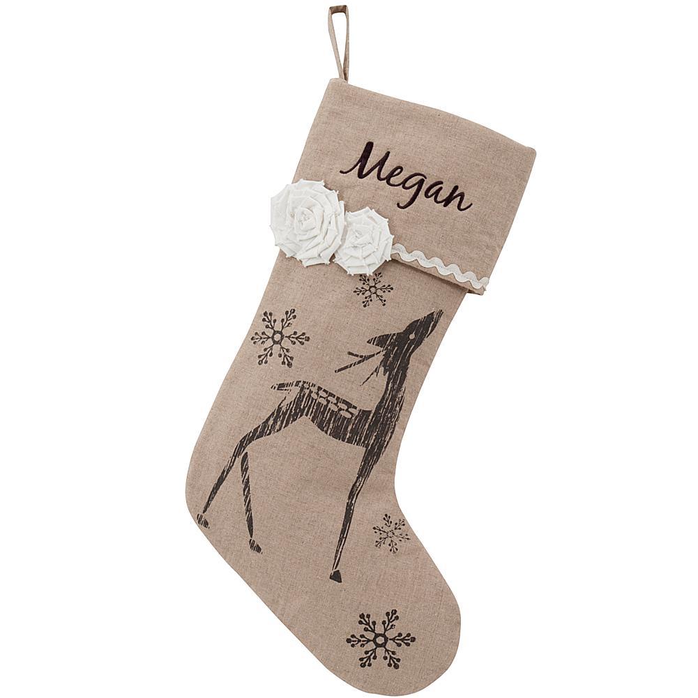 Vintage Linen Snowflake Reindeer Personalized Stocking plus size,  plus size fashion plus size appare